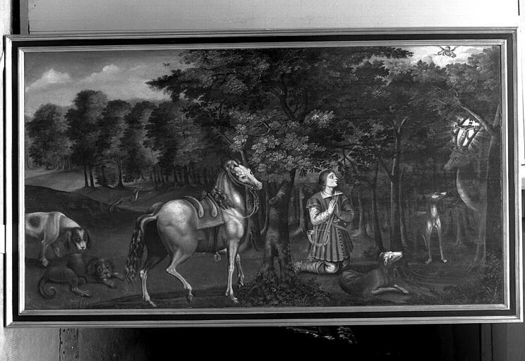 Panneau peint : La vision de saint Hubert