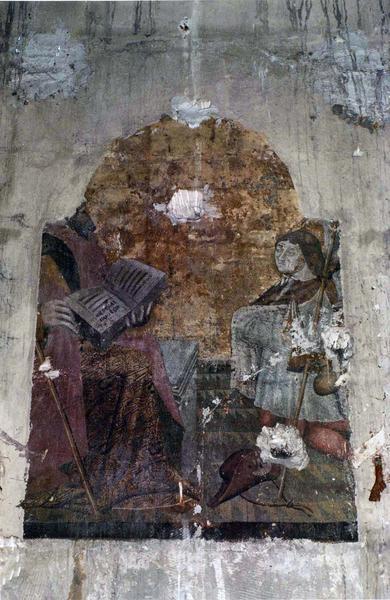 Peinture monumentale : Un Pélerin agenouillé devant un saint personnage