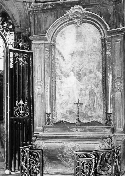 Autel de saint Vincent, retable, tableau : Le Martyre de saint Vincent, statues, clôture (table de communion)