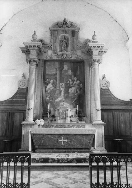 retable, autel, tabernacle, statue : Vierge à l'Enfant, tableau : La Présentation de la Vierge au Temple (maître-autel)