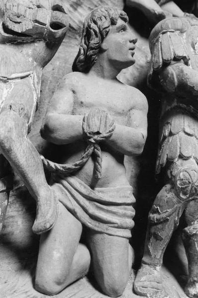 haut-relief : Le Martyre d'un saint les mains liées