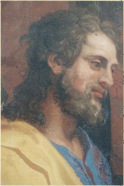 retable du maître-autel, lambris de revêtement, tableau : Jésus parmi les docteurs