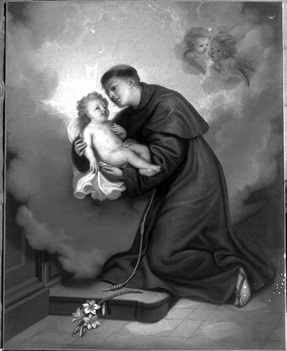 Peinture sur toile : Saint Antoine de Padoue portant l'Enfant Jésus