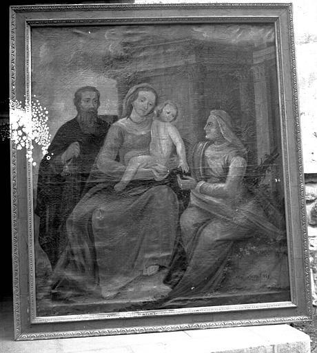 Peinture sur toile : La Vierge à l'Enfant, sainte Anne et saint Antoine abbé ?