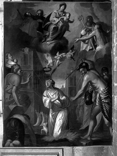 Peinture sur toile du maître-autel : Le martyre de sainte Agnès