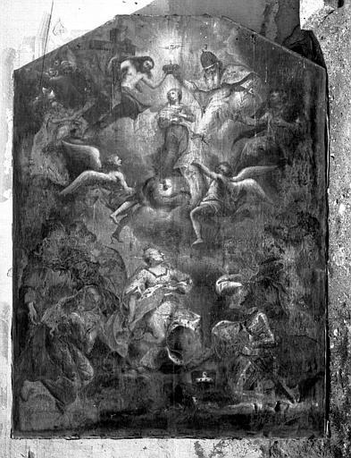 Peinture sur toile : L'Impératrice Marie-Thérèse et le duc François-Etienne de Lorraine assistant à l'Assomption de la Vierge