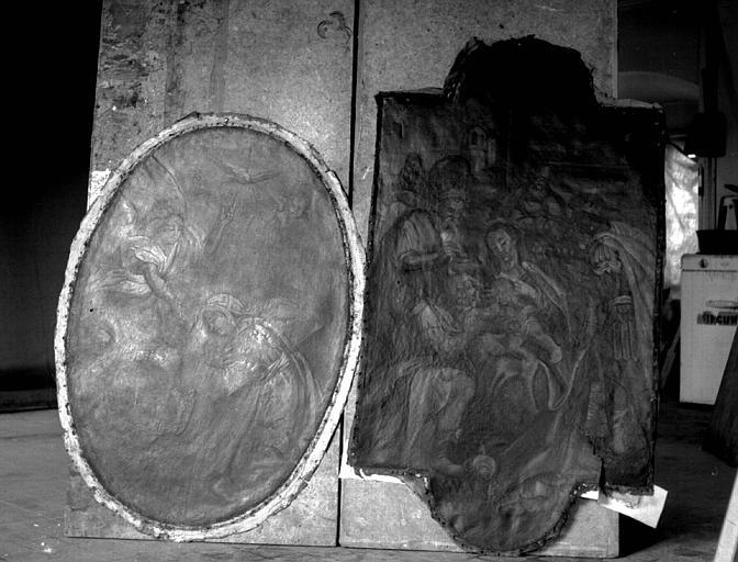Retable, deux peintures sur toile : L'Annonciation et l'Adoration des mages