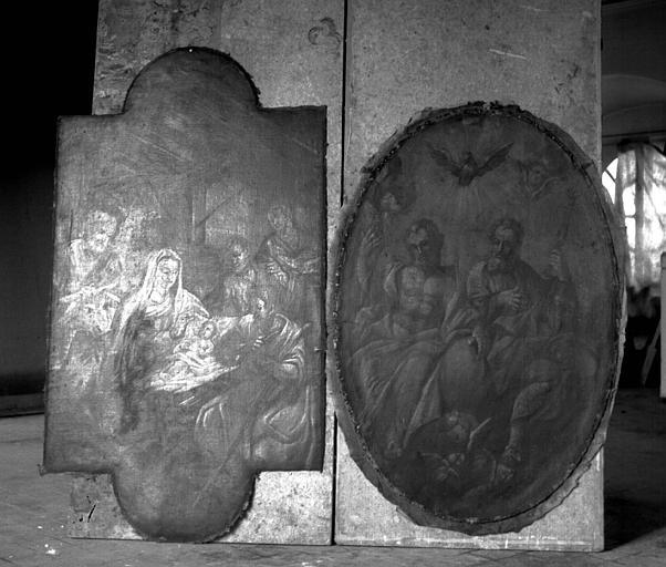 Retable, deux peintures sur toile : L'Adoration des bergers et la sainte Trinité
