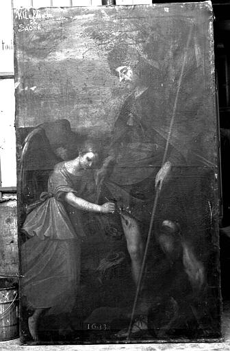 Peinture sur toile : Un ange pansant saint Roch