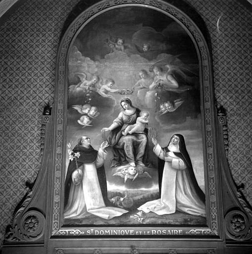 Peinture sur toile : Saint Dominique recevant le Rosaire