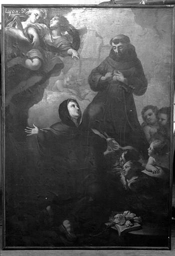 Peinture sur toile : saint François d'Assise et sainte Claire