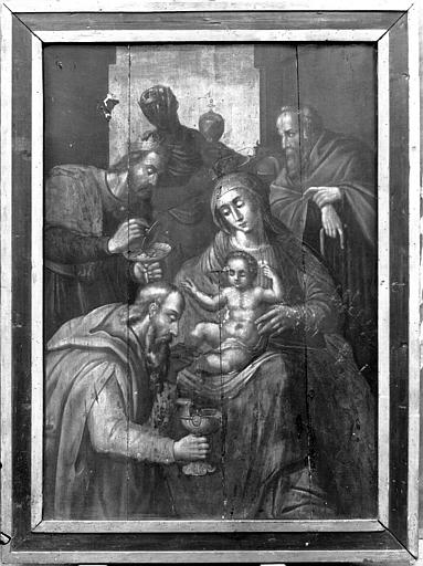 Panneau peint, grisaille : L'Adoration des mages