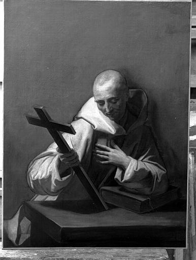 Peinture sur toile : saint Bruno adorant le Crucifix