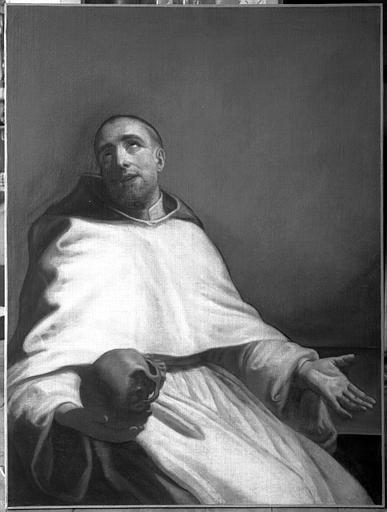 Peinture sur toile : saint Bruno méditant