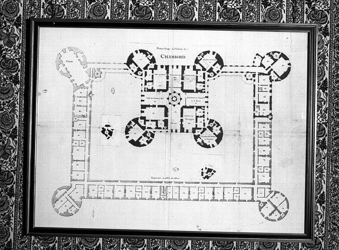 Plan du 1e étage, mise au net des chambres de l'aile de la chapelle, numérotées et retombes