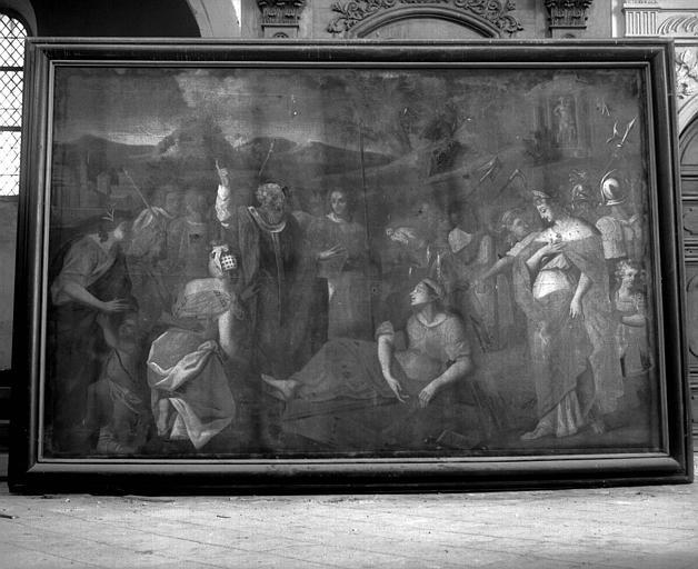 Peinture sur toile : Sainte Hélène faisant imposer les trois croix sur une morte qui ressuscite