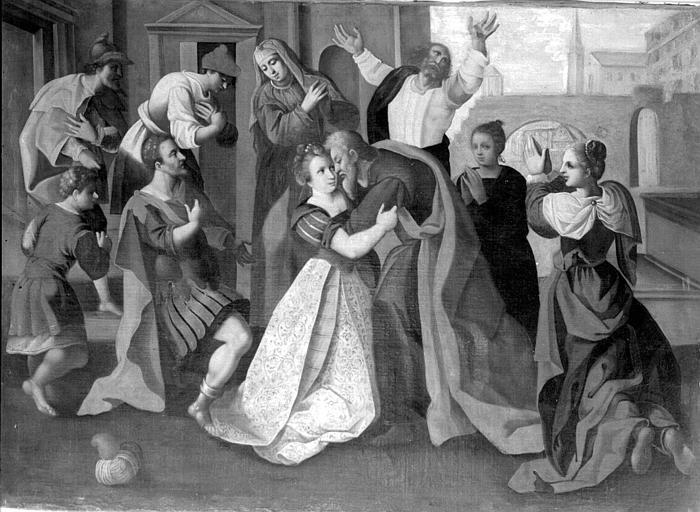 Peinture sur toile, suite de cinq toiles : Scène de la vie de sainte Suzanne