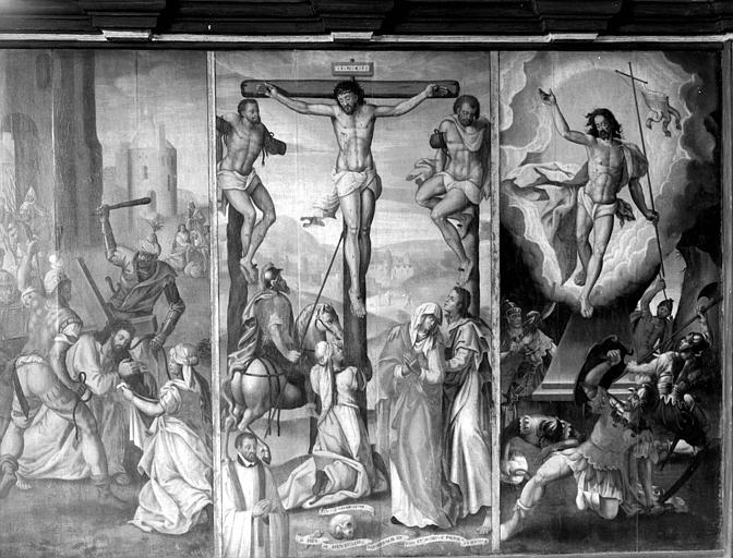 Retable en bois peint : Scènes de la Passion