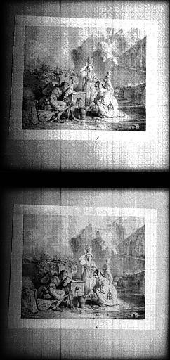 Etude au crayon et lavis gris, pour le Ménestrel et les Jouvencelles, tableau du salon de 1827