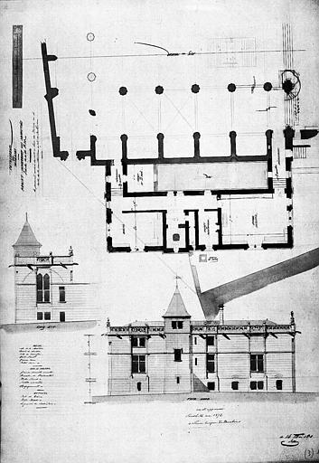 Projet pour les sacristies : Plan et élévations (aquarelle)