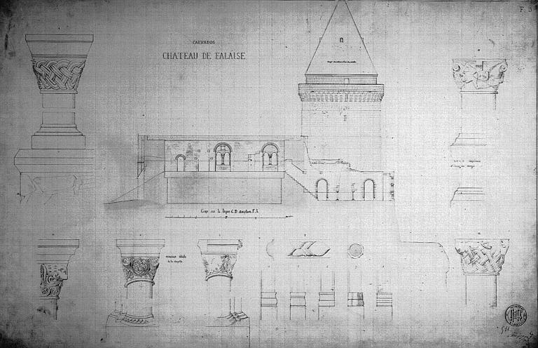 Coupe et chapiteaux de la chapelle