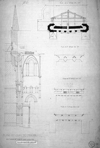Plans et coupes de la façade du transept sud