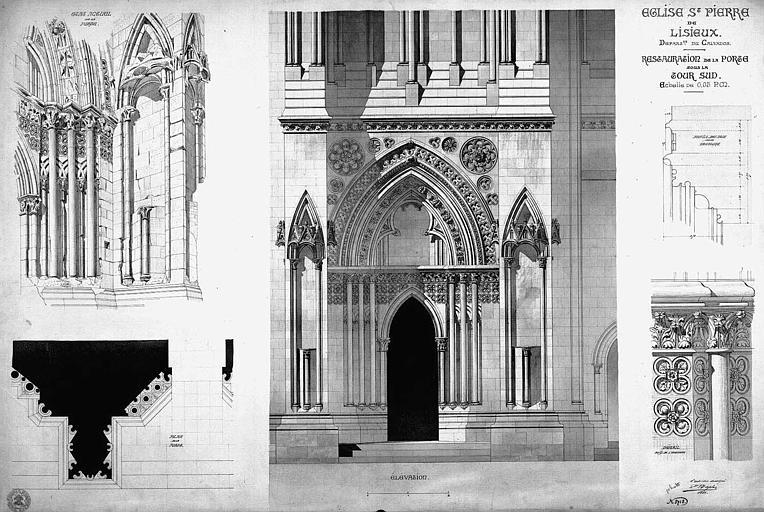 Restauration de la porte sous la tour sud : Plan, élévation et détails (état actuel)