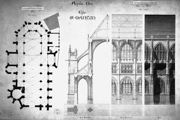 Plan, coupes transversale et longitudinale, détail de l'élévation