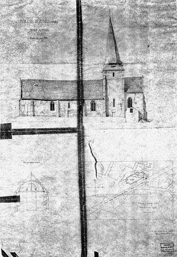 Elévation de la façade latérale, coupe transversale et plan (état actuel)