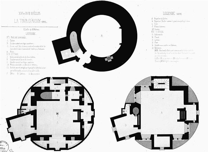 Plans du rez-de-chaussée, du 1e et du 2e étages