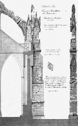 Travaux de consolidation et de restauration : Coupe et élévation d'un contrefort de la façade sud (état actuel)