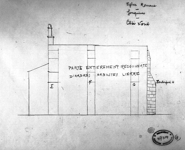 Croquis : Elévation de la façade nord