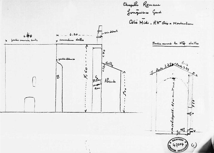 Croquis : Elévation de la façade sud et coupe transversale sur la partie avant de la nef