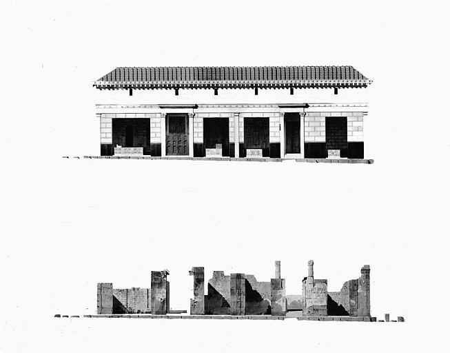 Elévation des ruines et reconstitution (aquarelle)