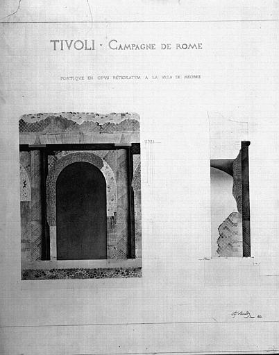 Portique en opus reticulatum : Elévation et coupe (aquarelle)
