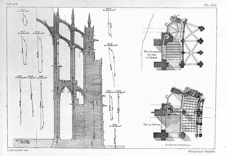 Héliogravure : Coupes du pilier extérieur (étude de stabilité), plan à la naissance des voûtes du collatéral et plan du triforium