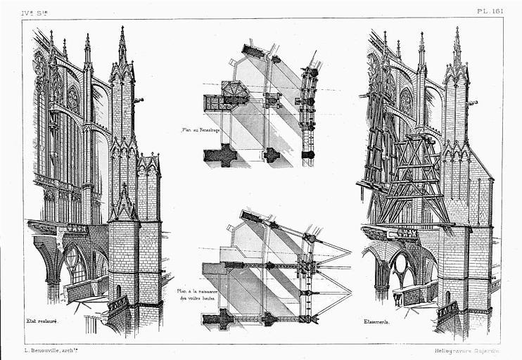 Héliogravure : Coupes du pilier extérieur (état restauré et étaiements), plan à la naissance des voûtes du collatéral et plan du triforium (état restauré)