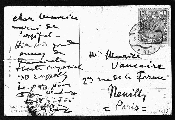 Autographe de Giacomo Puccini sur une carte postale datée de 1913 à Vienne (Autriche)