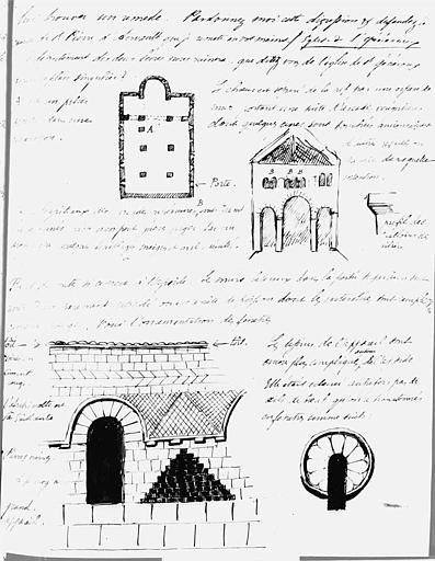 Lettre autographe de Mérimée sur l'église de Saint-Généroux, avec croquis (recto)