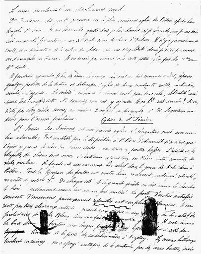 Lettre autographe sur l'église de Saint-Généroux (verso)