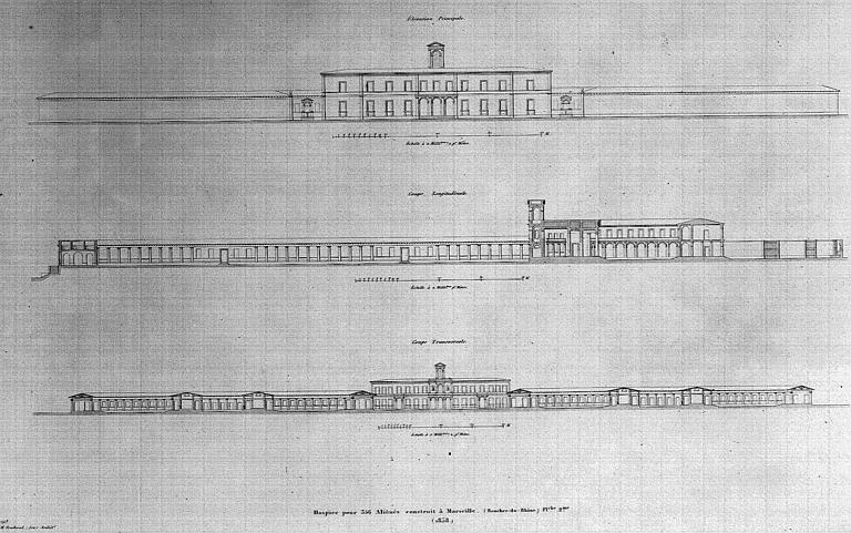 Gravure : Elévation principale, coupes longitudinale et transversale