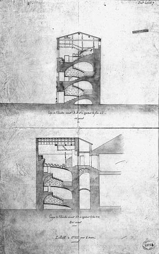 Coupes de l'escalier (état actuel)
