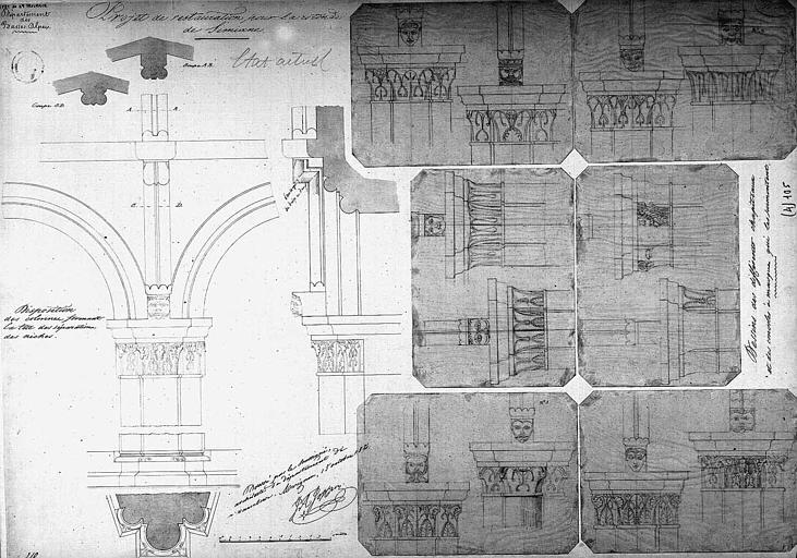 Projet de restauration : Dessins des chapiteaux et disposition des colonnes (état actuel)