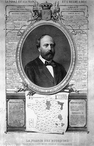 Gravure : 'La France des Bourbons telle qu'ils l'ont reçue, telle qu'ils l'ont rendue', avec le portrait du Comte de Chambord
