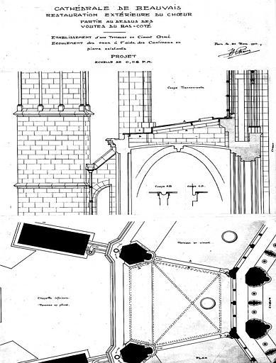 Projet de restauration extérieure du choeur : Plan et coupe transversale de la partie au-dessus des voûtes du bas-côté
