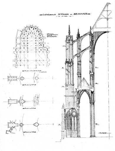 Plan général, élévation et plans détaillés d'une travée (arc-boutant, contrefort et pile sud)
