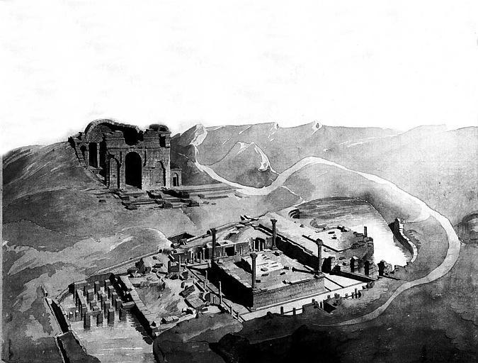 Dessin au lavis sépia : Vue cavalière des ruines et des environs