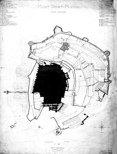 Plan général, état actuel (dessin à la plume et aquarelle)