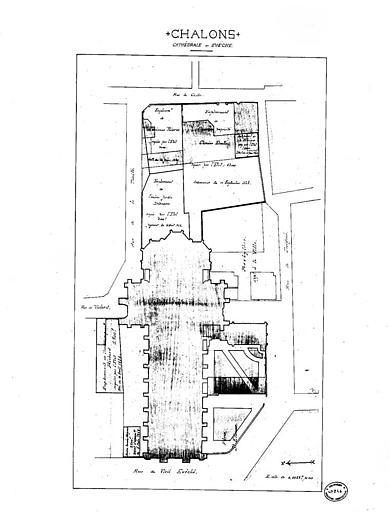 Plan d'ensemble de la cathédrale et de l'évêché (plume et aquarelle)