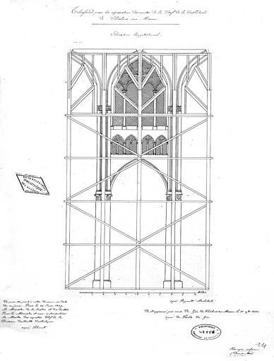 Echafaudage pour la réparation des voûtes de la nef : Elévation longitudinale